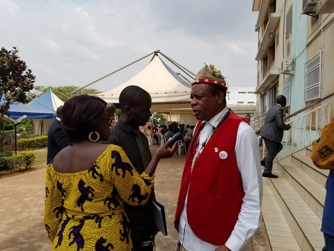 Dr King TANYI giving an interview at the Land Tenure Week (January 2019)